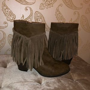 Sbicca Vintage Collection Brown Fringe Booties